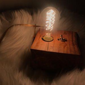 Vintage Edison bulb wood light